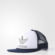 Boné Adidas Trucker Branco E Azul Bone Logo