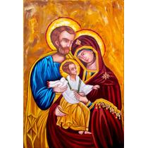 Quadro Sagrada Familia Pintura Sacra Óleo S/tela 40x60cm