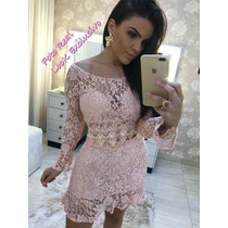 dedd11e6ec Conjunto Feminino Saia E Cropped Blusa Renda De Festa Rose à venda ...