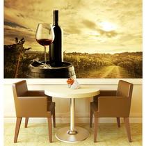 Adesivo Painel Papel De Parede Cozinha Bar Vinho Barril M9