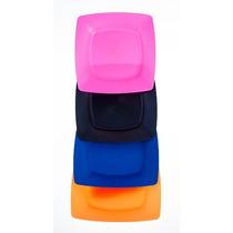Kit Com 10 Pratos Plastico Duro Rígido Quadrado Coloridos