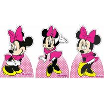 Kit 6 Minnie Rosa Disney Display De Mesa Decoração De Festa