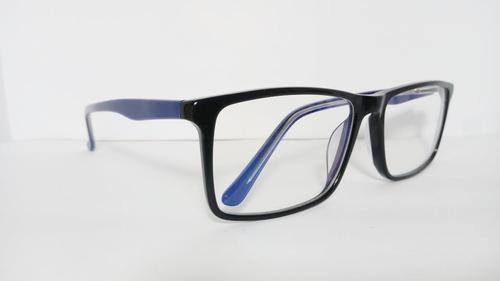Óculos Grande Armação Acetato Masculina Tamanho 58 8283 Azul cbdac63b36