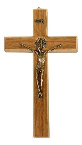 Cruz Crucifixo Parede Em Madeira Metal