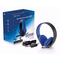 Fone Headset Stereo Silver 7.1 Com Fio Ps4 Ps3 Sony Original