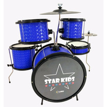 Bateria Infantil Luen Star Kids Azul Com Chimbal - Completa