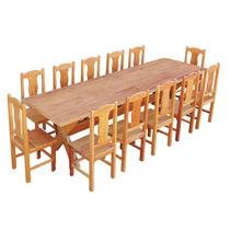 Conjunto Mesa De Jantar Madeira Maciça 3m Com 12 Cadeiras