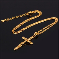 Colar Feminino Semijoia Crucifixo + Corrente Banho Ouro 18k