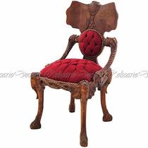 Cadeira Em Madeira Maciça Rica Em Entalhes De Elefante