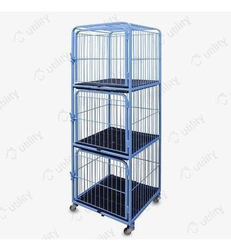 Canil Gatil Gaiola 3 Lugares P/ Pet Shop Veterinária Azul