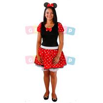 Vestido Fantasia Minnie Adulto Minie Com Shortinho 36 Ao 48