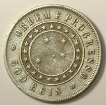 Moeda Antiga Prata 500 Reis 1889, Mbc++, Frete Gratis