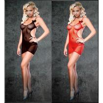 Lingerie Sensual Mini Vestido Arrastão Super Sexy Mulheres