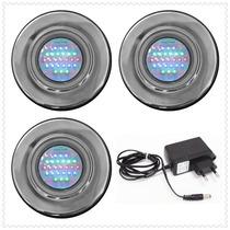 Kit Iluminação P/ Piscina 3 Refletores 25 Leds Mono + Fonte