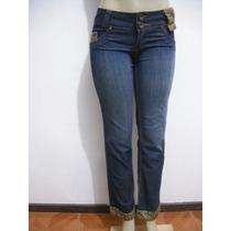 Calça Jeans Tam 40 Detalhes Veludo Oncinha Ótimo Estado