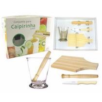 Kit Para Caipirinha Bar Drink Coquetel Copo Em Vidro C/4 Pçs