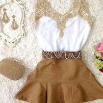 Conjunto Saia Caramelo +blusa Blusinha Decote Viscose Guipir