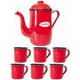 Kit Café C/ Bule Esmaltado 1,25 Litros + 6 Xicaras 70 Ml(fp)