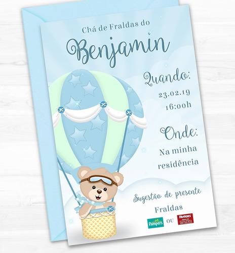 054157cbb4 Convite Chá De Fraldas Ursinho Baloeiro Azul Virtual Digital. R$ 29