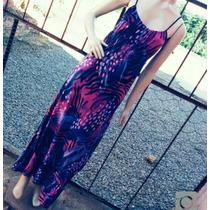 Lindo Vestido Longo Estampado Verão Pronta Entrega