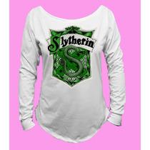 Camiseta Harry Potter Sonserina Slytherin M Longa 02