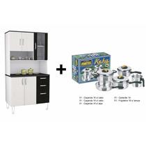 Armário Para Cozinha + Conjunto 5 Peças Panelas Alumínio