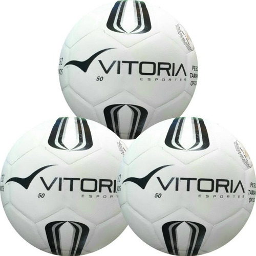 bdcb86d255 3 Bolas Futsal Vitoria Oficial Prata Max 50 Sub 9