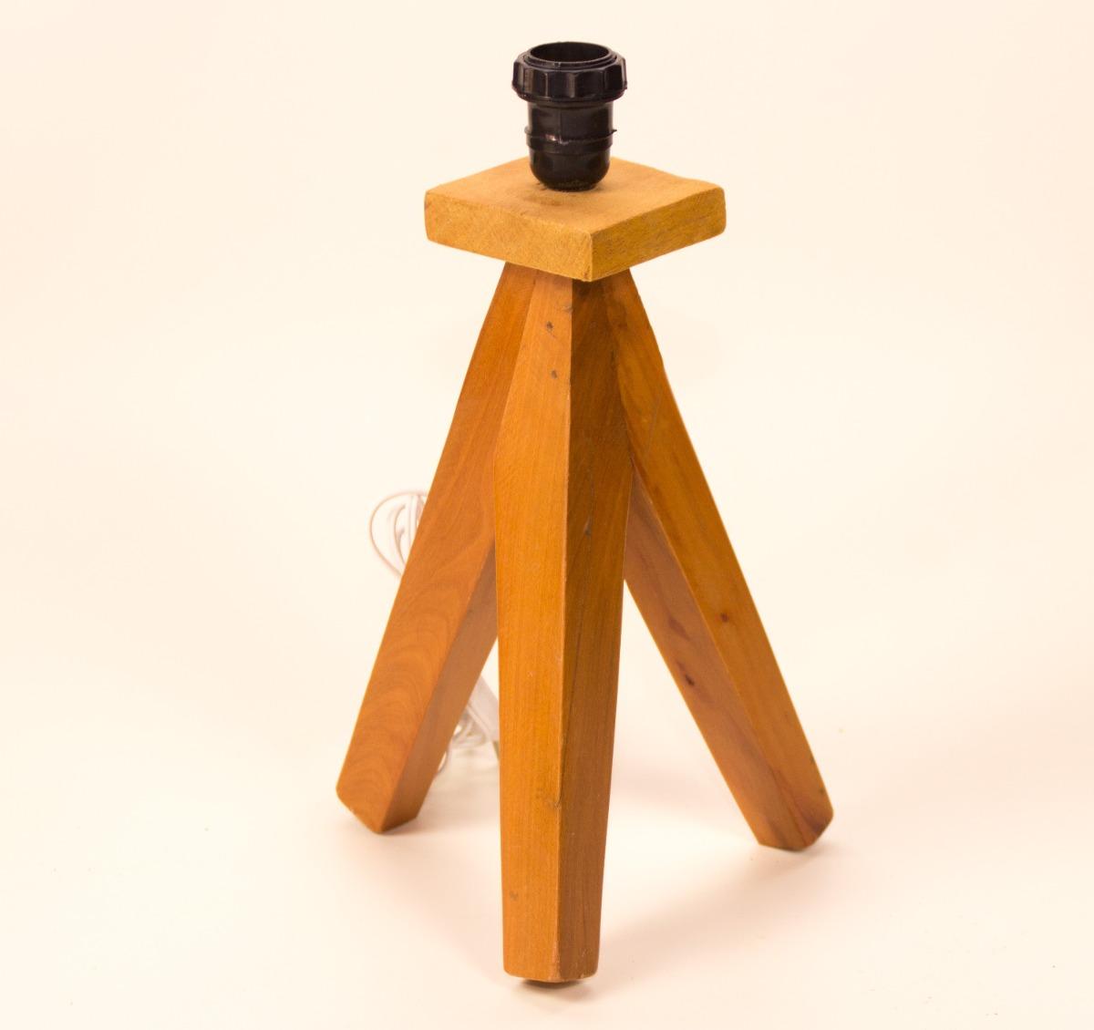 Abajur Tripé 45cm Base Madeira Reciclada E Cupula De Tecido R$ 189  #AC5400 1200x1130