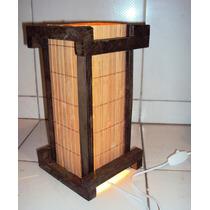 Abajur Luminaria Japones Rustico Sala Quarto Artesanal Mesa