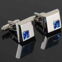 Abotoadura De Punho Masculina Ou Feminina Azul Cristal