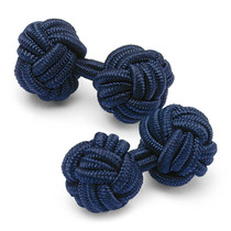 Abotoadura De Punho Seda Cor Azul Escuro- Unisex - Casamento