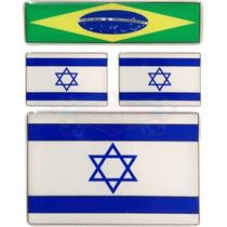 Kit 3 Bandeiras Adesivas Israel - Grátis 1 Do Brasil