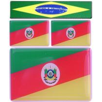 Kit 3 Bandeiras Rio Grande Do Sul -1x6x4+2x2,8x1,8cm+ Brasil