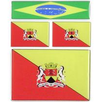 Kit 3 Bandeiras Resinadas Sorocaba -1x6x4+2x2,8x1,8cm+brasil