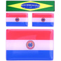 Kit 3 Bandeiras Paraguai -1x6x4+2x2,8x1,8cm+ Brasil