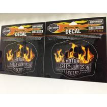 Par De Adesivos Harley Davidson Flame Logo Itens Originais