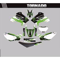 Kit Adesivos Gráfico Para Moto Tornado + Capa De Banco