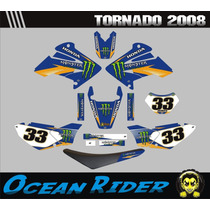 Kit Adesivos Completo + Capa Tornado-moto-trilha Ocean Rider