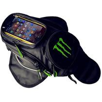 Bolsa Mochila Monster Para Tanque De Moto C/ Imã Magnético