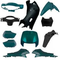 Kit Plásticos Carenagem Honda Biz 100 1998 A 2005 Verde