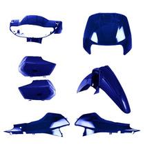 Kit Plástico Carenagem P/ Biz + 100 Ano 2002 Azul Perolizado
