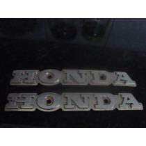 Par De Emblema Do Tanque Original Metal Honda Cb 400 450