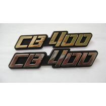 Emblema Tampa Lateral Honda Cb400 ( Prata E Dourado)