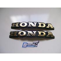 Par (2 Peças) Emblema Do Tanque Honda Cb 400 Prata