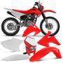 Kit Plasticos Crf230 Roupa Vermelho Protork + Farol Off Road