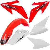 Kit Plásticos Roupa Crf230 Pro Tork Completo Vermelho Branco