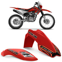 Kit Paralama Dianteiro Traseiro Mx2 Pro Tork Vermelho Moto