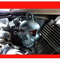 Capa De Buzina Skull Caveira Preta Para Harley Davidson