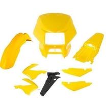 Kit Plástico Carenagem P/ Nxr Bros 150 2008 - Amarelo (8pc)