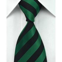 Gravata Seda Listras Verde Escuro E Preto Gvt 627